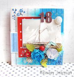AHOJ żeglarzu! Dorosłość na horyzoncie - męska kartka na 18!  #scrapbooking, #card, #kartka, #handmade, #rękodzieło, #malowanyimbryczek, #flowers, #kwiaty, #birthday, #18birthday, #sailor, #sea, #boat, #boy