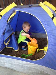 Repurpose A Kids Tent Into A Sandbox
