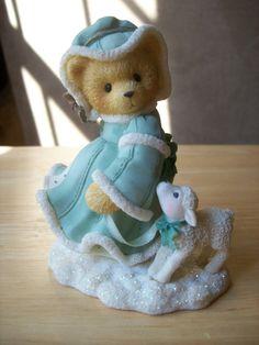 "Cherished Teddies 1999 Felicia ""Joy to the World"" Figurine. Whimsical Teddie with little lamb. C Bear, My Teddy Bear, Love Bear, Polymer Clay Ornaments, Polymer Clay Christmas, Boyds Bears, Painted Cakes, Tatty Teddy, Joy To The World"