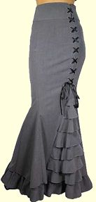 Grey Corset Ruffle Fishtail Skirt Retroscope Fashions Victorian & Steampunk inspired clothing for Men and Women