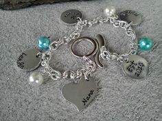 Family Name Bracelet  Hand Stamped Charm by CharmletteDesigns, $22.00