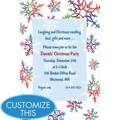 Festive Snowflakes Custom Invitation - Christmas Invitations - Christmas - Holiday Parties - Categories - Party City