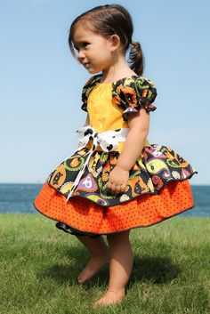 Cotton Boutique Peasant Dress Halloween Pumpkin Spider Skull Infant Baby 6 12 18 24 month Toddler Girl 2T 3T 4 5 Handmade Sleeve Twirl Skirt by UniqueBoutiqueKathy on Etsy