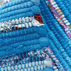 Kids' Rugs: Kids Blue Recycled Cotton Rug in All Rugs | The Land of Nod