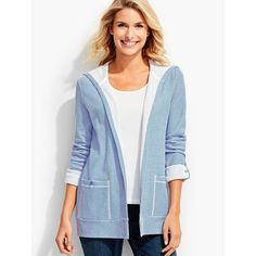 Talbots Women's Cove Stripe Hooded Flyaway Cardigan (1 030 ZAR) ❤ liked on Polyvore featuring plus size women's fashion, plus size clothing, plus size tops, plus size cardigans, plus size, striped cardigan, women's plus size tops, plus size white cardigan and long white cardigan