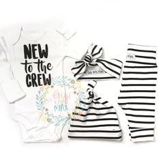 **Please allow up to 2 weeks for processing on this particular set, we are waiting on fabric** Hi there! Welcome to Gigi and Max! This handmade outfit is beyond perfect for any sweet baby on the way.