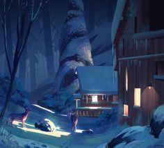 winter home by ghost i Imaginaire II: Magic Realism Landscape Concept, Fantasy Landscape, Landscape Art, Fantasy Art, Illustration Vector, Illustrations, Environment Concept Art, Environment Design, Space Cat