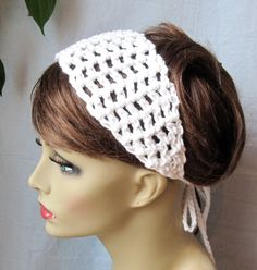 SALE White Crochet Headband Summer Spring by JadeExpressions. , via Etsy.