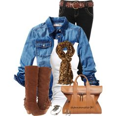Casual Outfit | Denim, Leopard Print, Leather; Tank, Button-Down, Scarf, Riding Boots, Jeans