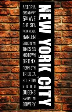 ORIGINAL New York City Borough Manhattan Subway Sign by wordology
