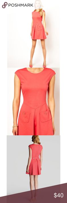 Ted Baker Orange Dress Harmia Pocket Jersey Size 1 In great condition. Coral color. Ted Baker Dresses
