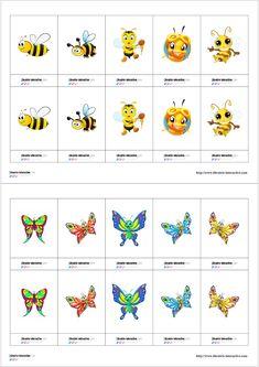 Un petit jeu de memory sur le thème du printemps avec les chenilles, les abeilles et les papillons. Myla, Chenille, Insects, Montessori, Centre, French Lessons, French Tips, Butterfly Project, Bee Theme