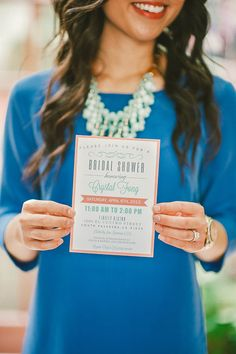 bridal shower invitation - coral and mint