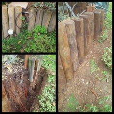 Schritt für Schritt die Gartenterrasse abstützen und Palissade erneuern. #holz #garten #palissade #pfahl #erneuern #grünerdaumen #grigorov Wood, Crafts, Close Board Fencing, Bird Bath Garden, Garden Layouts, Garden Fencing, Madeira, Woodwind Instrument, Wood Planks