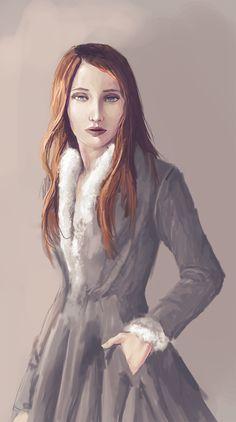 Sansa é tradicionalmente bonita, puxando a família de sua mãe, os Tully, com suas grandes maçãs do rosto, olhos azuis vívidos e cabelos ruivos espessos. Sansa foi criada para ser uma dama, e possui as tradicionais graças femininas de seu meio, com um interesse especial em música, poesia, cantoria, dança, bordado, e outras atividades tradicionais femininas. Como várias garotas de sua idade, Sansa é encantada por cantos e histórias de romance e aventura.