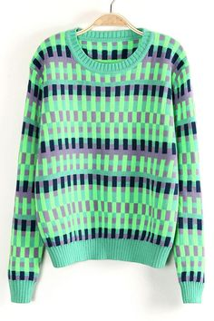 Green Long Sleeve Vertical Stripe Pullover Sweater US$32.13