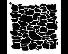 Stone Wall Pattern Stencil Select Size STCL1019 by por StudioR12