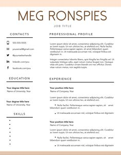 Monograms By Meg FREE FILLABLE RESUME TEMPLATE | mpronspies.com