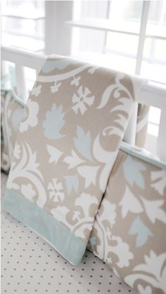Gender neutral crib bedding, would be perfect for a boy or girl!
