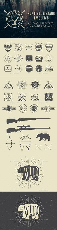 Vintage Hunting Emblems — Photoshop PSD #mountain #mark • Download ➝ https://graphicriver.net/item/vintage-hunting-emblems/19480767?ref=pxcr