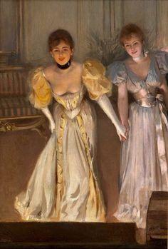 Two Actresses on Stage Albert Lynch - Date unknown Vintage Lesbian, Lesbian Art, Gay Art, Victorian Paintings, Victorian Art, Woman Painting, Painting & Drawing, Rennaissance Art, Renaissance Kunst
