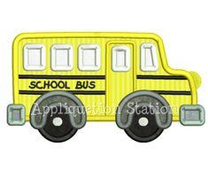 Cute School Bus Applique Machine Embroidery by AppliquetionStation