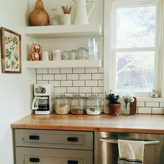 Kitchen subway tile wood counter top