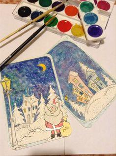 Скетч, открытка, Новый год