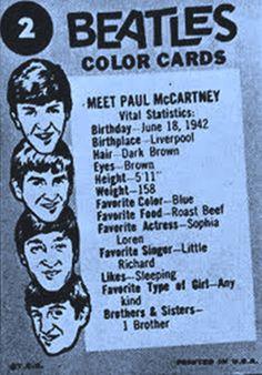 The Beatles Color Cards♥♥Meet Paul McCartney!