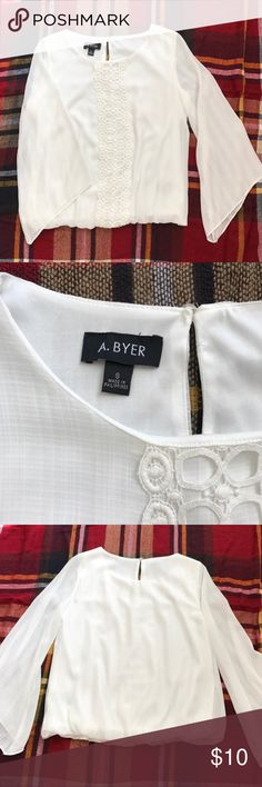 A. Byer White Blouse White blouse, worn once! Pretty detail on front, sheer bell-type sleeves, elastic bottom. A. Byer Tops Blouses