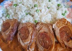 Töltött sertésszűz mangalica kolbásszal recept foto Eastern European Recipes, Sausage, Pork, Favorite Recipes, Meals, Romanian Recipes, Pork Roulade, Meal, Sausages