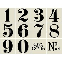 Maisondestencils / Old World Style No 1 Numbers 12 small stencils 6x6