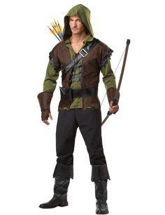 Déguisement Robin des Bois pour homme : Ce déguisement Robin des bois pour homme se compose d'un haut, une ceinture, des gantelets et des sur-bottes (pantalon et accessoires non inclus).Le haut vert est manches longues. Il...