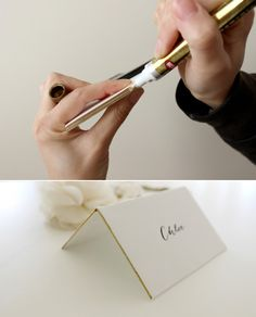DIY trick: make the edges of your placecards gold using a metallic gold sharpie!