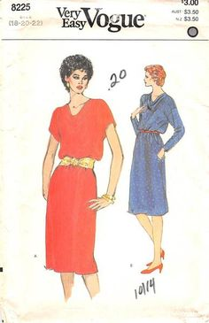 Loose-fitting, pullover, A-line dress, three inches (7.5cm) below mid-knee length, has bias bodice with cowl neckline, extended shoulders and elasticized waistline. Purchased belts. A: sleeveless has