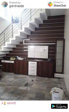 unit under staircase Modern Tv Unit Designs, Modern Tv Wall Units, Wall Unit Designs, Living Room Tv Unit Designs, Living Room Sofa Design, Home Stairs Design, House Design Photos, My Home Design, Lcd Wall Design