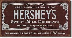 """I think the Hershey's Milk Chocolate Bar (which is also known as """"The Great American Chocolate Bar"""") is an iconic American food. The Hershey Bar was the first mass produced chocolate bar in America… Hersheys, Hershey Chocolate Bar, Hershey Bar, Chocolate Lovers, Hershey Factory, Chocolate Wrapper, Chocolate Food, Chocolate Humor, Hershey Candy"""