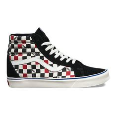 Seeing Checkers Sk8-Hi Lite ($75) ❤ liked on Polyvore featuring men's fashion, men's shoes, men's sneakers, mens high top sneakers, mens lace up shoes, mens leather sneakers, mens leather lace up shoes and mens black leather high top sneakers
