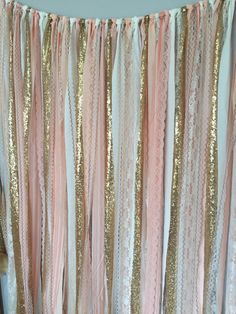 Peach, Pink & Gold Sparkle Sequin Fabric Backdrop with Lace - Wedding Garland, Photo Prop, Curtain, Baby Shower, Crib Garland by ohMYcharley on Etsy https://www.etsy.com/listing/226499180/peach-pink-gold-sparkle-sequin-fabric
