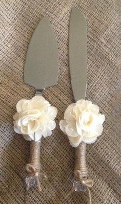 Rustic Wedding Cake Knife and Server by RubyRedBirdCreations, $35.00