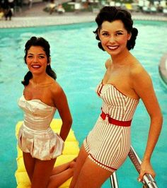 1955. Love these swim suits. Especially the striped one.