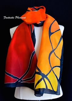 Silk scarf hand painted art nouveau style in by FantasticPheasant
