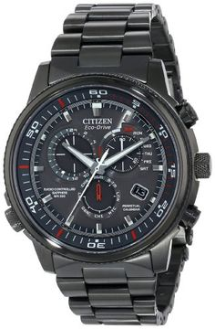 """Citizen Men s """"Nighthawk A-T"""" Stainless Steel Eco-Drive Watch Grey  ion-plated watch in stainless steel with red contrasts on dial, three-link  bracelet, ... bc92ef51eba"""