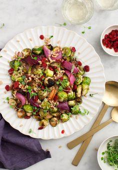 choux de Bruxelles rôtis, noix de pécan, orge, cranberries, oignon rouge, vinaigre balsamique