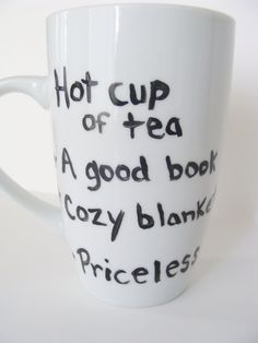 Hot Cup of Tea A Good Book Cozy Blanket Tall  Mug/Cup Hand Painted