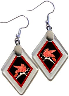 "Earrings ""Cardinals"" from rescued, repurposed window glass~art by Annie Miller Romero by OnceAWindow on Etsy"