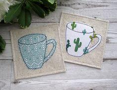 Cactus Coasters, Fabric coasters, Mug Coasters, Housewarming Gift, Drink Coasters, Modern Table Decor, Square Coasters, Cactus Gift, Mug Mat