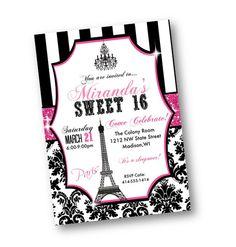 Paris Sweet 16 Birthday Invitation pink black bling por PinkPopRoxx