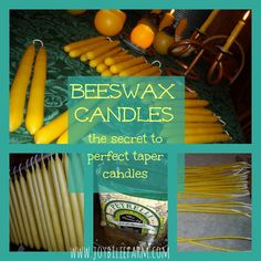 making the perfect beeswax taper candle~JoybileeFarm  Note: super-awesome info on beeswax, and some sad things I didn't know about soy wax