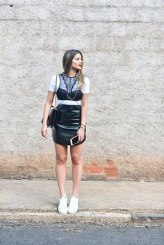 Brazil Closets: Thassia Naves Outfit Photos   COS t-shirt, Courrèges skirt, Valisere bralette -- another option here, Fenty Puma x Rihanna shoes -- another Puma style here, Gucci bag